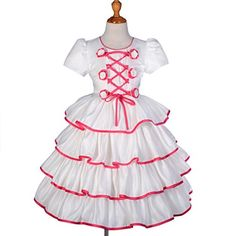 Lito Angels Girls Satin Tiered Girl Formal Dress Wedding Pageant Party Size 23T Cream Hot Pink * You can find more details by visiting the image link.