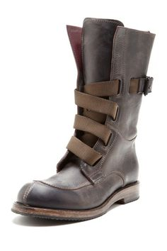 Leather Work Boot with Canvas Straps / i.am