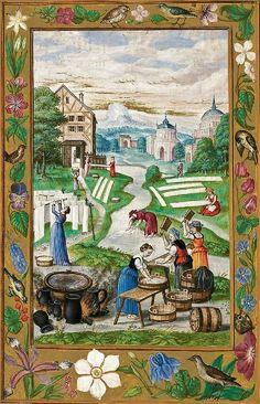 From: 'Splendor Solis' Alchimistische Handschrift, Nürnberg, 1531 Medieval Houses, Medieval Life, Medieval Art, Medieval Manuscript, Illuminated Manuscript, Illuminated Letters, Flower Mandala, Mandala Art, 16th Century Clothing