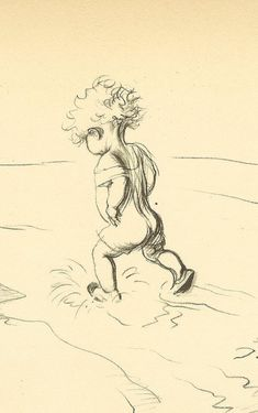 Vintage 1933 JH Dowd Children's Print Young Child Paddling At Waters Edge Bathing Suit Beach Sand Waves Pencil Sketch Book Illustration