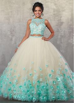 329b2390cd  191.39  Marvelous Tulle Jewel Neckline Cut-out Two-piece Ball Gown  Quinceanera Dress With Handmade Flowers   Lace Appliques   Beadings