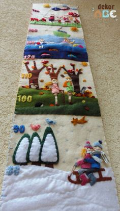 MAGASSÁGMÉRŐ - 4 évszak, Baba-mama-gyerek, Dekoráció, Otthon, lakberendezés, Gyerekszoba, Hímzés, Varrás, Meska Book Quilt, Nursery Room Decor, Felt Art, Mom And Baby, Felt Crafts, Preschool Activities, Textiles, Kids Room, Crafts For Kids