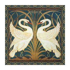 Walter Crane Swan, Rush And Iris Art Nouveau Canvas Print | Zazzle.com