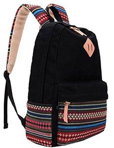 Hmxpls Unisex Fashionable Canvas Zip Bohemia Boho Style Backpack School College Laptop Bag for Teens Girls Boys Students, Black Supernatural Style Backpack For Teens, Backpack Travel Bag, Fashion Backpack, Laptop Backpack, Cute Backpacks, Girl Backpacks, School Backpacks, College Bags For Girls, Bags For Teens