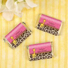 Giraffe Girl - 20 Personalized Mini Candy Bar Wrapper Sticker Labels Baby Shower Favors $5.99