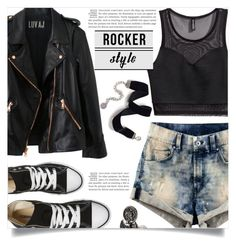 """""""Rocker Chic"""" by dolly-valkyrie ❤ liked on Polyvore featuring H&M, Luv Aj, Converse, Sweet Romance, DYLANLEX, rockerchic and rockerstyle"""