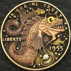 Strange Things You've Never Seen Before - Hand Cut Penny Metal Sculpture Wall Art, Metal Art, Old Coins Value, Custom Coins, Hobo Nickel, Coin Art, Mushroom Art, Metal Engraving, World Coins