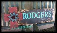 Barnwood Name Sign with Attached Cross and Bling by aleatoire, $130.00