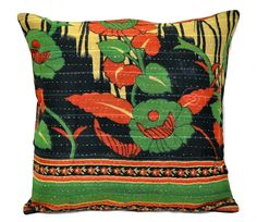 indian kantha throw pillows for sofa and couch boho vintage floor cushions p47