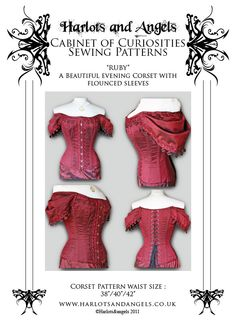 """extra Large Steampunk Gothic """"Ruby"""" Corset  Paper Sewing Pattern off shoulder sleeved corset. $19.50, via Etsy."""