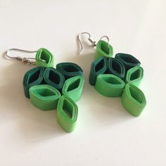 Quilling Earrings Greeny                                                       …                                                                                                                                                                                 More