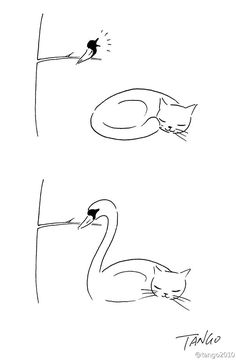 One comic illustrator, who goes by the name of Tango on his Tumblr, creates these beautifully silly illustrations depicting various animals on their unusual adventures and everyday encounters.