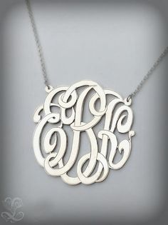 Monogram Necklace with Hand engraved and polished by LinasJewelry