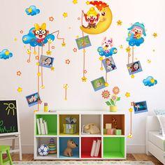 Niños encantadores sala de mono habitación de los niños etiqueta de la pared decoración estrellas mono etiqueta de la pared removible