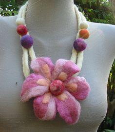 Felt JewelryFelt FlowerFelt NecklaceFelt Waist by RumiWay on Etsy, $27.00