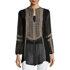 Tolani Lauren Embroidered Boho Blouse ($205) ❤ liked on Polyvore featuring tops, blouses, black, embroidery tops, embroidered blouse, bohemian blouses, black pullover and black boho top