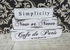 3 French Paris Miniature Shabby Plaque Sign Quotes by ArtbyScherer