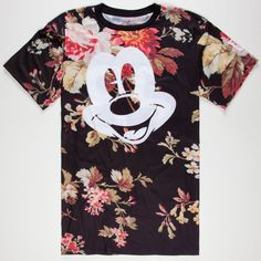 "Neff Disney Collection Mckey Face tee. Allover floral print with Mickey Mouse face on front. Jersey style ""Mickey 28"" lettering on back. 97% polyester/3% cotto…"