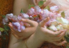 """Before 1910 - """"Girl with Flowers"""" (detail) by Etienne Adolphe Piot. French artist, born 1850- died 1910. Student of: William Adolphe Bouguereau (William Bouguereau) (1825-1905)"""