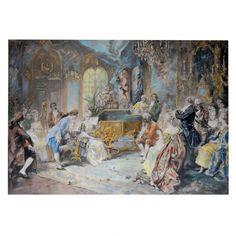"""VICENTE GARCIA DE PAREDES (1845-1903) - """"Cena de Interior"""". Aquarela. Assinado c. i. d. 50 x 75 cm."""