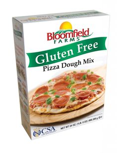 Bloomfield Farms - Gluten Free Pizza Dough Mix. I use for pizza, bread sticks, and cheesy bread. Quick and easy. Texture isn't same as regular pizza dough but nice. Good flavor and a little spongy.