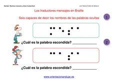 Ejercicios para niños de atención y coordinación visomotora para traducir palabras en alfabeto Braille