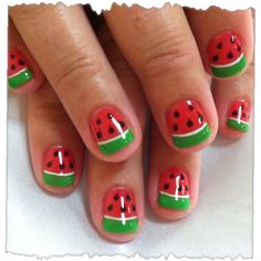 Watermelon nails for Ava's Halloween costume!