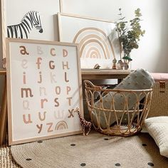 Scandi nursery decor with rainbow art and alphabet diagram poster. Zebra illustrat … Scandi nursery decor with rainbow art and … - Ikea Nursery, Boho Nursery, Ikea Bedroom, Rainbow Nursery Decor, Bedroom Ideas, Nursery Art, Girl Nursery Decor, Nursery Crafts, Rustic Nursery
