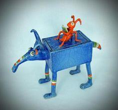 Charlie und die Blaue Elise Raku Keramik von Petra Tepaß