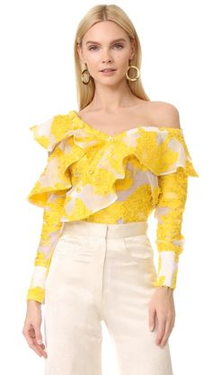 Cheap blouse fashion, Buy Quality designer blouse directly from China fashion blouses Suppliers: Blouse Women Novelty Design Jacquard Fabrics Asymmetrical Off Shoulder Long Sleeves Casual Shirt New Fashion Style 2017 Frill Shirt, Ruffle Blouse, Casual Outfits, Fashion Outfits, Fashion Blouses, Casual Shirt, Yellow Blouse, Yellow Top, Pleated Fabric