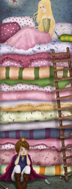 """""""Princess and the Pea"""" Art by Chuck Ometti - A Hans Chistian Andersen Fairy Tale - Denmark- Published in Hans Christian, Princess And The Pea, Pink Princess, Fairytale Art, Kids Sleep, Children's Book Illustration, Art Illustrations, Art Graphique, Bedtime Stories"""