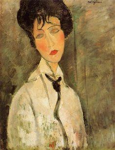 Portrait of a Woman in a Black Tie (1917) by Amedeo  Modigliani (Italian, 1884-1920).