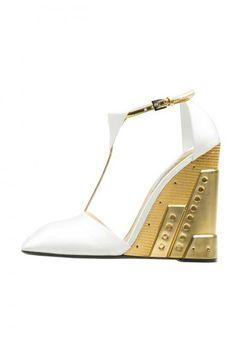 Scarpe Prada sandali bianchi con zeppa oro autunno inverno 2014 2015