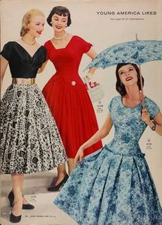 d1acd07f546 Full skirt dresses from fashions vintage style party dress day dress black  velvet floral red blue white floral color photo print ad models drop waist  summer ...