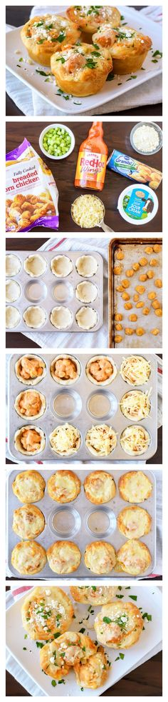 Creamy Buffalo popcorn chicken baked into a Pillsbury biscuit. Switch out frozen chicken with homemade bites Bite Size Appetizers, Finger Food Appetizers, Best Appetizers, Appetizer Recipes, Tapas, Baked Chicken, Chicken Bites, Game Day Food, I Love Food