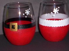 Two His and Her's Santa Wine Glasses Stemless Juice. $20.00, via Etsy.