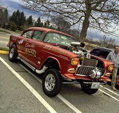 1955 Gasser by Debbie Camara Tomasso - Muscle Car Chevy Muscle Cars, Best Muscle Cars, American Muscle Cars, Classic Hot Rod, Classic Cars, Old Race Cars, Fancy Cars, Vintage Race Car, Sweet Cars