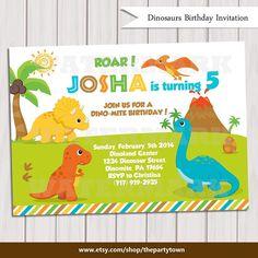Dinosaur Birthday Invitation / Dinosaur Invitation Printable / Dino Invitation / Dinosaur Invite / Dinosaur Printable by ThePartyTown on Etsy https://www.etsy.com/listing/177552193/dinosaur-birthday-invitation-dinosaur