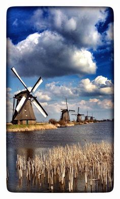 The Netherlands - Kinderdijk windmills Netherlands Windmills, Holland Windmills, Old Windmills, Holland Netherlands, Amsterdam Netherlands, Tilting At Windmills, Old Barns, Le Moulin, Belle Photo