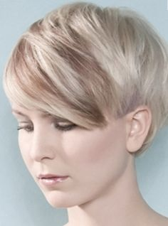 Short Hairstyle With Long Bangs With Highlights of Ice Blond And Light Brown.