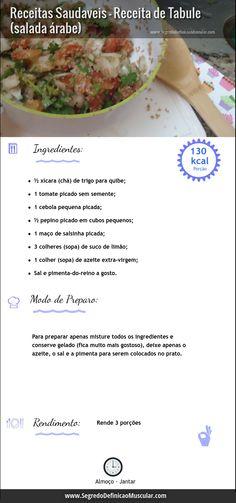 Receita de Tabule   ➡ http://www.SegredoDefinicaoMuscular.com/receitas-saudaveis-receita-de-tabule-salada-arabe  #receita #tabule #recipe #salada