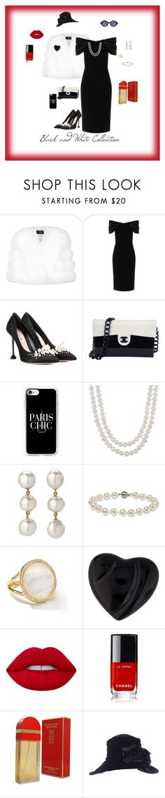 """""""Black and white collection"""" by michelechambers ❤ liked on Polyvore featuring Harrods, Emilio De La Morena, Miu Miu, Chanel, Casetify, Annoushka, Ippolita, Baccarat, Lime Crime and Elizabeth Arden"""