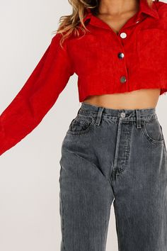 Young & Cool Cord Crop // Red - Verge Girl