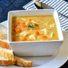 Chicken Lentil Soup - with carrots, celery & thyme. - A simple, easy to prepare but nutritious soup that'd perfect to make after a roast chicken or turkey dinner.