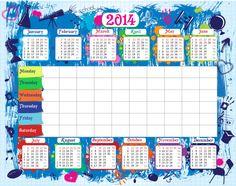Weekly School Schedule Timetable with 2014 Calendar  #teacher #resources #Schedule #Organizer #homework #reminder