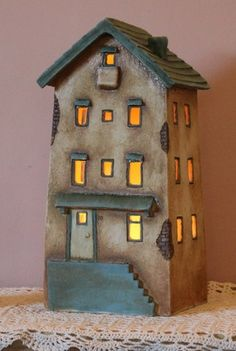 Clay House - Harry Tanner Design - ceramic night light lamp or garden sculptureI like how the house itself has a simple shape but the details draw in the viewer.miniature illuminated clay house ceramic lamp home decor handmade artLight up Christmas t Clay Houses, Ceramic Houses, Miniature Houses, Ceramic Clay, Ceramic Pottery, Pottery Art, Ceramics Projects, Clay Projects, Sculpture Clay
