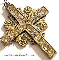 "$39 2"" Long plus bail and 1.50"" wide Color: Goldtone, Clear rhinestone Type: Rhinestone Ornate Cross Manufacturer: Vintage Christian  Large gold..."