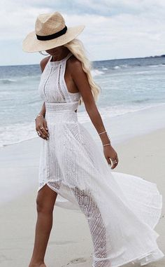 bohemian white maxi dress + natural hat