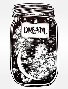 Hand drawn romantic wish jar with night sky moon and stars Vector illustration isolated Tattoo desig Stock Vector