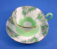 Light Green & White Floral Royal Grafton Tea Cup and Saucer Set | Antiques, Decorative Arts, Ceramics & Porcelain | eBay!